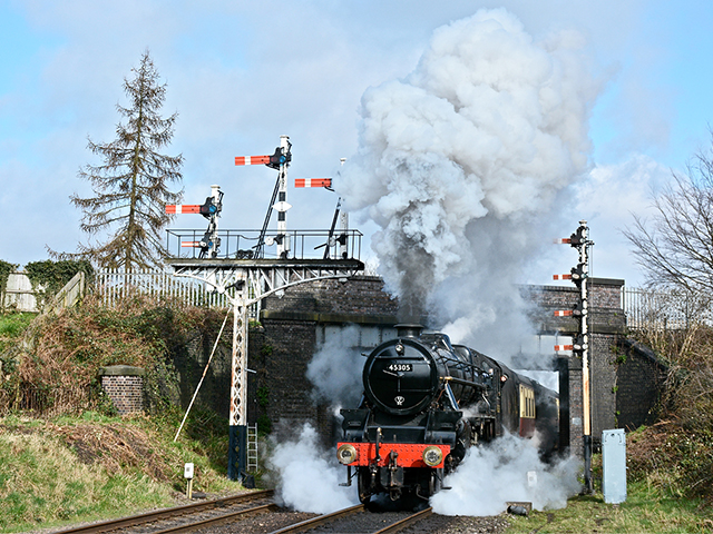 Join us for a day with BR-liveried Black Five 45305 hauling alternately vans and a mixed goods set