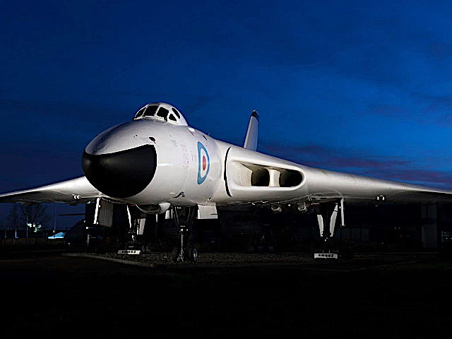 V Force Vulcan Bomber on QRA at Night