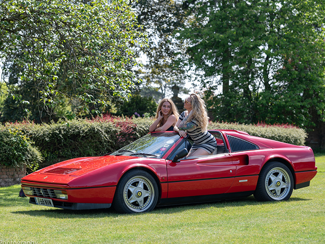 Fashion Portraits with classic cars in the gardens of the elegant Elvetham Hotel