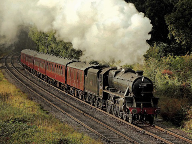 Join us for a day with BR-liveried Black Five 45305 hauling a rake of red and cream passenger stock