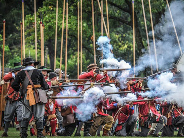 Capturing an early 19th century foot regiment with musket firing at the Royal Gunpowder Mills