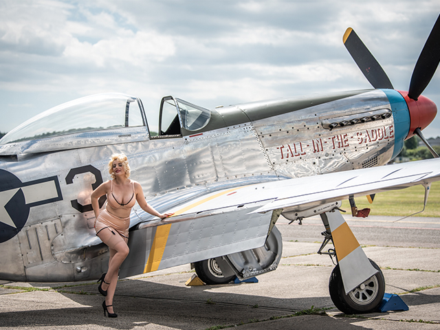 Recreating those Vintage Pin Up shots with a P51 Mustang plus a 350 GT fast back Shelby and a convertible Mustang car