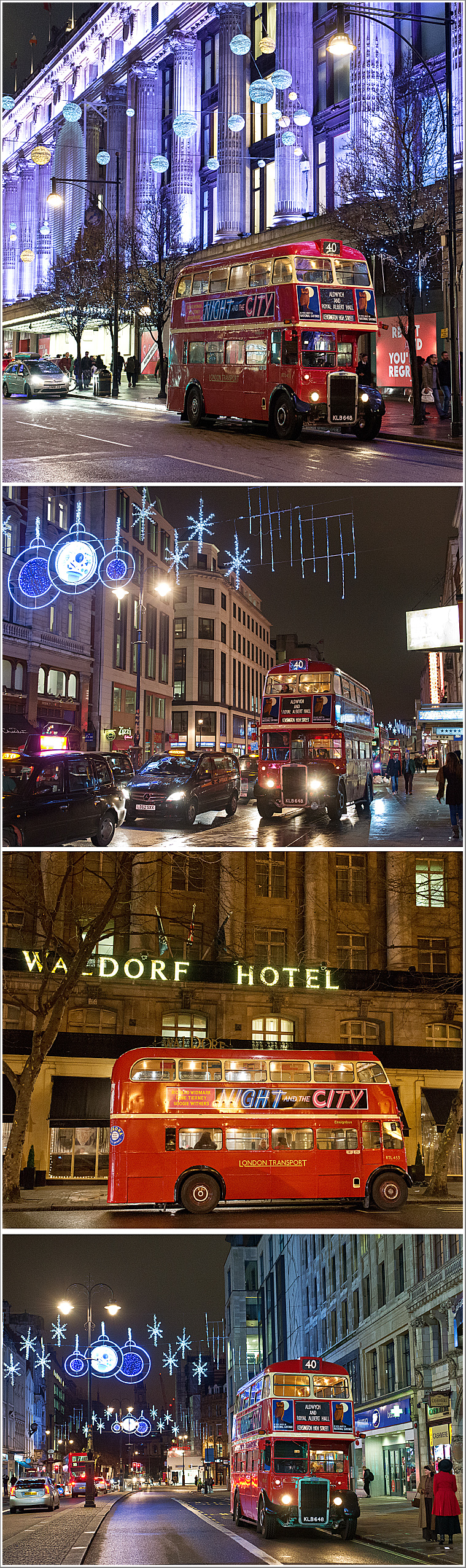 Christmas lights spectacular with a London RT Bus in the West End at night, Friday 28th December 2018