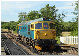 A daytime and evening shoot using BR blue Class 33 No.33103 with a short train of dogfish wagons, Thursday 26th April 2018