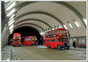 A mix of London buses from the 1950's & 60's at night on the streets of London & at Newbury Park, 23rd February 2019